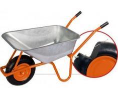 pro-bau-tec PU (Vollschaum) Garten- und Bauschubkarre mit Tiefenmulde 100 l, Tragkraft 160 kg, pannensicheres Rad
