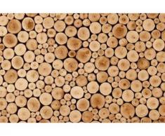 papermoon Vlies- Fototapete Digitaldruck 350 x 260 cm, Round Teak Wood