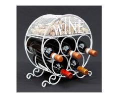 Weinregal Metall Korkenbehälter Rund Freistehend Klein Flaschenregal 83133 Weinschrank Flaschenständer - AMBIENTE HAUS