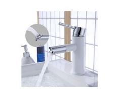 Wasserhahn Bad 360° drehbar Auslauf Badarmatur Weiß Einhand-Waschtischbatterie mit Keramikkartusche Waschbecken Armatur fürs Badezimmer(50CM