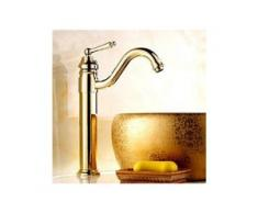 Waschtisch-Armatur massiv, Farbe Gold, Messing-Ausführung, traditionelles Design mit einem Hebel - LOOKSHOP®