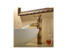 Waschtisch-Armatur Wasserfalleffekt, Einhebelarmatur, Messing-Ausführung, Antikstil - LOOKSHOP®