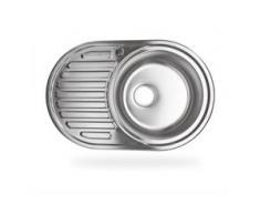 Edelstahl Einbauspüle CalypsoMR Küchenspüle Waschbecken rechts rund mit Ablage - STABILO-SANITAER