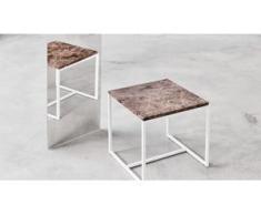 Beistelltisch Marmor, Brauner Emperador - Eleganter Nachttisch: Hochwertige Materialien, einzigartiges Design - 42 x 46 x 42...