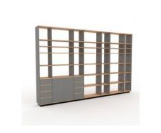 Regalsystem Grau - Regalsystem: Schubladen in Grau & Türen in Grau - Hochwertige Materialien - 380 x 239 x 35 cm,...