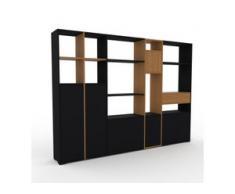 Regalsystem Schwarz - Regalsystem: Schubladen in Eiche & Türen in Schwarz - Hochwertige Materialien - 267 x 196 x 35 cm,...