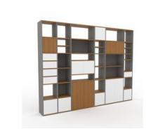 Regalsystem Grau - Regalsystem: Schubladen in Weiß & Türen in Weiß - Hochwertige Materialien - 306 x 233 x 35 cm,...