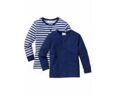 Langarmshirt mit Knopfleiste (2er-Pack) in blau für Jungen von bonprix