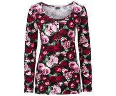 Shirt mit Knopfleiste langarm in schwarz für Damen von bonprix