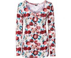 Shirt mit Knopfleiste langarm in rosa für Damen von bonprix