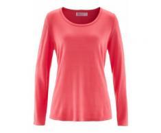 Pullover mit Knopfleiste langarm in pink für Damen von bonprix