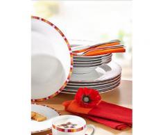 Porzellanservice weiß/rot/rosa/orange