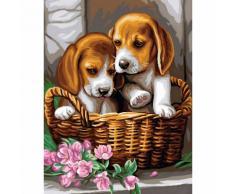 Malen nach Zahlen mit Acrylfarben Hunde im Korb, 23 x 30,5 cm