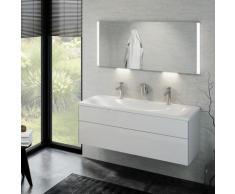 Keuco Royal Reflex Doppelwaschtisch mit Waschtischunterschrank und LED-Lichtspiegel B: 130 H: 48 T: 49 cm Front weiß hochglanz / Korpus weiß hochglanz 39605211200, EEK: A+