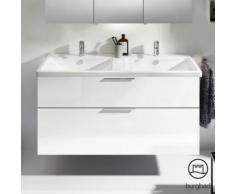 Burgbad Eqio Doppelwaschtisch mit Waschtischunterschrank, B: 123 H: 64,5 T: 49 cm, mit 2 Auszügen Front weiß hochglanz / Korpus weiß glanz, Griff chrom SEYS123F2009C0001G0146