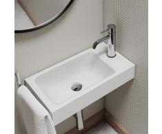 Kaldewei Puro Handwaschbecken B: 55 T: 30 cm, Becken links weiß, mit 1 Hahnloch 901206303001