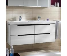 Villeroy & Boch Subway 2.0 Waschtischunterschrank für Doppelwaschtisch XL B: 128,7 H: 52 T: 44,9 cm, 4 Auszüge Front glossy white / Korpus glossy white, Griff chrom A69910DH