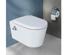 VitrA Options Nest Wand-Tiefspül-WC L: 57,5 B: 35,5 cm, mit Bidetfunktion ohne Spülrand, weiß, mit VitrAclean, mit integrierter Thermostat-Armatur 5176B403-7211
