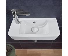 Villeroy & Boch O.novo Compact Handwaschbecken B: 50 T: 25 cm weiß mit CeramicPlus, mit 1 Hahnloch links, mit Überlauf 4342L5R1
