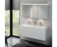 Keuco Royal Reflex Doppelwaschtisch mit Waschtischunterschrank und LED-Spiegelschrank B: 130 H: 48 T: 49 cm Front weiß hochglanz / Korpus weiß hochglanz 39605212200, EEK: A+