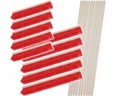 BRB Besen-Set, 10x Straßenbesen, Kunststoffborsten, 5X 600 mm, 5X 1.000 mm, 10x Sattelholz-Besenstiel