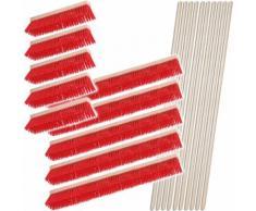 BRB Besen-Set, 10x Straßenbesen, Kunststoffborsten, 5X 400 mm, 5X 1.000 mm, 10x Sattelholz-Besenstiel