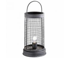 Vintage Beistell Nacht Tisch Leuchte Filament grau Wohn Zimmer Deko Gitter Lese Lampe im Set inkl. LED Leuchtmittel
