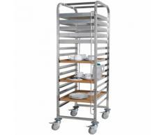 Tablettwagen aus Edelstahl, für 15 Tabletts oder Backbleche, BxTxH 620 x 470 x 1735 mm, 4 Gummilenkrollen mit Feststellbremse