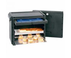 Thermo-Transportbox, LxBxH 760 x 490 x 740 mm, anthrazit, Querlader, ideal für Backbleche, mit integriertem Thermometer