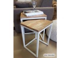 Casamia Couchtisch Set 2 Stück Wohnzimmer Tisch Satztisch Dallas Metall-Gestell schwarz oder weiß