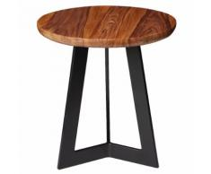 WOHNLING Beistelltisch Sheesham Holz Metall Industrial Telefontisch Deko Hocker