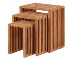 Beistelltisch 3er-Set Teak Balkontisch Tisch