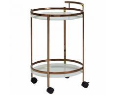 FineBuy Servierwagen Gold Beistelltisch Rollen Glas Speisewagen Rund 50cm