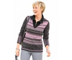 Collection L Damen Pullover orchidee-gemustert
