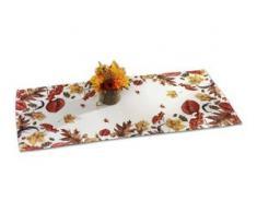 Tisch- und Raumdekoration mit Herbstlaub-Dessin, Größe 146 (Läufer, 40x 90 cm), Cremé/Bunt