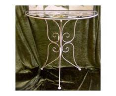 Gartentisch, Wandtisch aus Metal cremeweiß, Sidebord mit Glasplatte