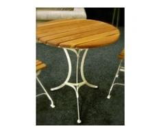 Gartentisch Capri, bezaubernde Nostalgie-Gartenmöbel aus Metall+Teakholz D 80cm