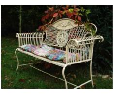 Gartenbank Toscana, schöne Gartenmöbel, Metall-Bank, creme-weiß