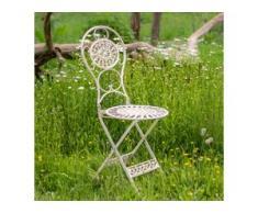 Klappstuhl viktorianischer Stil, Gartenstuhl Metall, Terrassenstuhl Shabby Chic