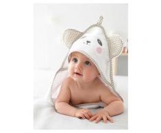 Baby Badetuch mit Waschhandschuh, Tiere hellweiss einfärbig app. Größe 100X100 von vertbaudet
