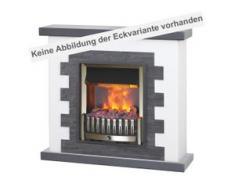muenkel design Livanto [Elektro Eckkamin Opti-myst Landhausstil mit schwarzem Schiefer verkleidet]: Danville Messing antik