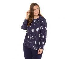 Große Größen Bluse Damen (Größe 58 60, dunkelblau) | Ulla Popken Langarmblusen | Viskose, versetzte Knopfleiste