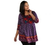 Große Größen Longshirt Damen (Größe 66 68, multicolor) | Ulla Popken Longshirts | Baumwolle, kleine Knopfleiste