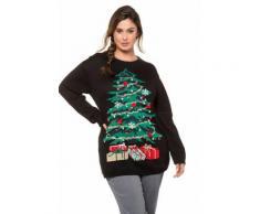 Große Größen Weihnachts-Pullover Damen (Größe 54 56, schwarz) | Ulla Popken Rundhalspullover | Baumwolle/Polyacryl, Pompon-Kugeln