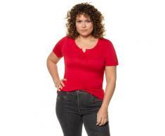 Große Größen T-Shirt Damen (Größe 62 64, apfelrot) | Ulla Popken T-Shirts | Viskose, kurze Knopfleiste