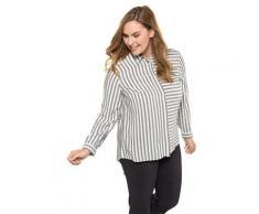 Große Größen Longbluse Damen (Größe 46 48, schwarzgrau) | Ulla Popken Longblusen | Viskose, verdeckte Knopfleiste