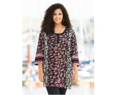Große Größen Shirt Damen (Größe 58 60, multicolor) | Ulla Popken Longshirts | Baumwolle, Knopfleiste