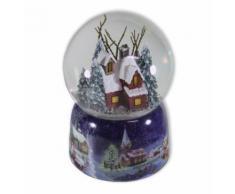 Schneekugel Haus im Wald mit Beleuchtung und Spieluhr