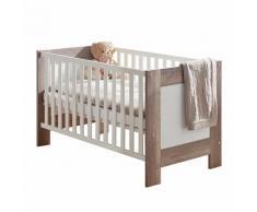 Babybett Berti - Wildeiche Trüffel / Weiß matt - ohne Umbauseiten