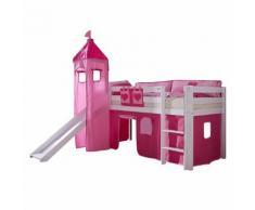 Spielbett Alex - mit Rutsche, Vorhang, Turm und Tasche - Buche weiß/Textil pink-herz